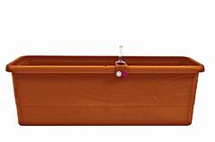 Self-irrigation window box Smart System Gardenie (with décor - sale) 40 cm terracotta
